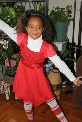 My 8- year old daughter Kameko all dressed up as she heads to see Annie with friends from school.