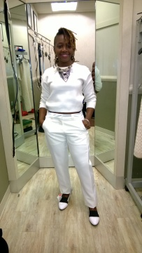 All White  Look: Inspired by Solange Knowles' choice of color for her wedding  but resulted in  a Janelle' Mona type vibe as I went  went for the crisp snowflake color  of winter paired with  black and white loafers.