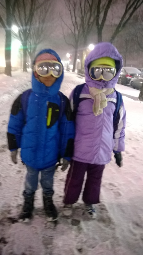 Heading home from  school  in the  snowy blizzard of 2015