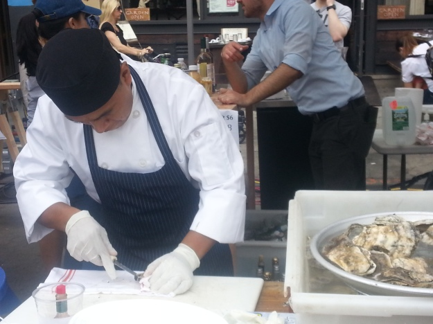 Oysters being prepared at MEDI
