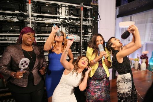 Happier Times: Fun backstage antics on The Real with the co-host. ....courtesty of The Real website