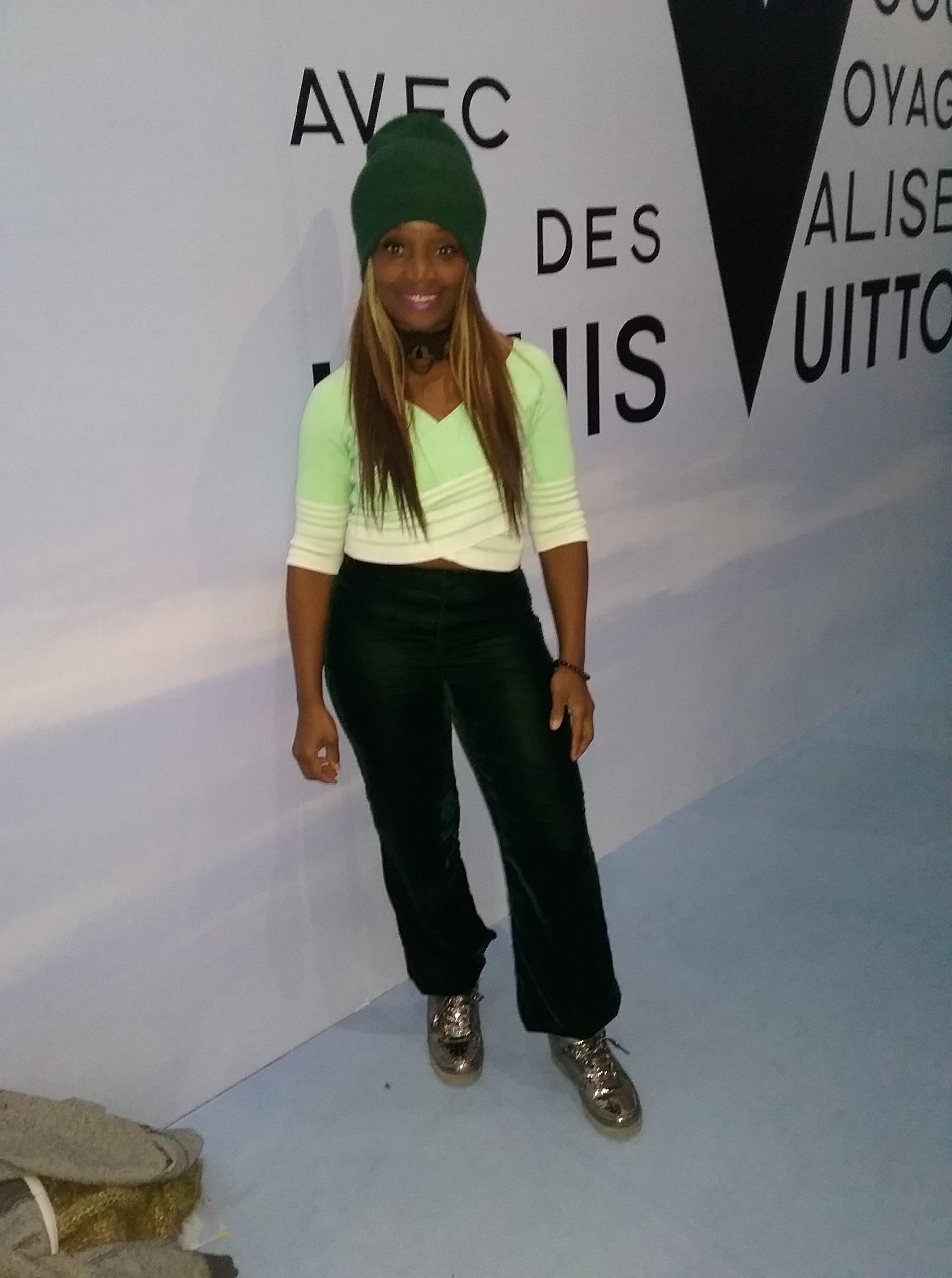 Debra strikes a pose at the Volez, Voguez, Voyagez – Louis Vuitton exhibition pic by @debrafrombrooklyn