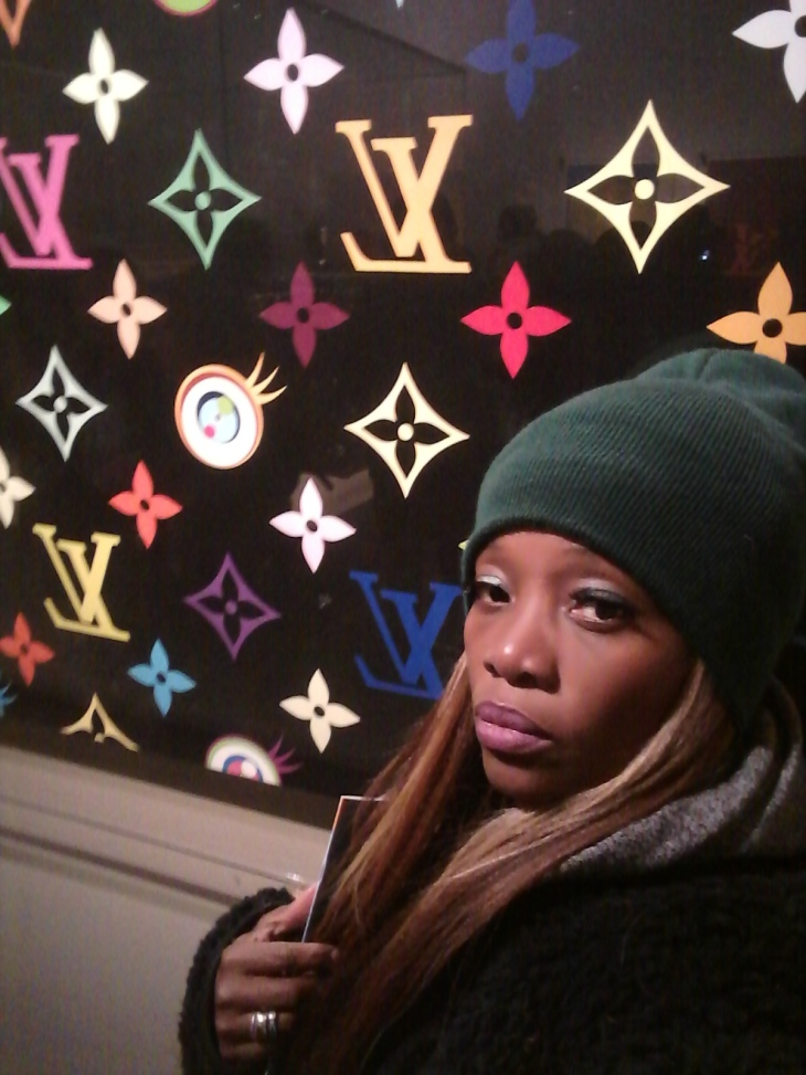 Debra strikes a pose at the Volez, Voguez, Voyagez – Louis Vuitton exhibition pic by @debrafrombrooklyn