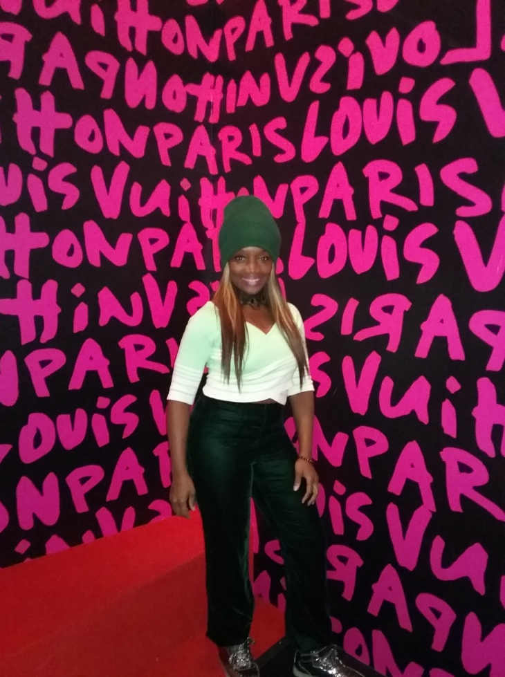 "Debra at the NYC ""Volez, Voguez, Voyagez – Louis Vuitton exhibition photo by @debrafrombrooklyn"